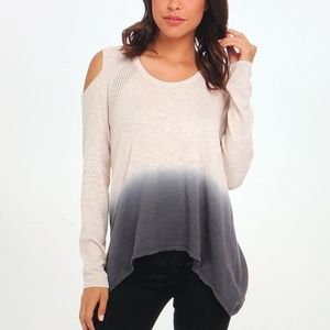 DKNY JEANS TAN/BLUE Dip-Dye Cold Shoulder Sweater